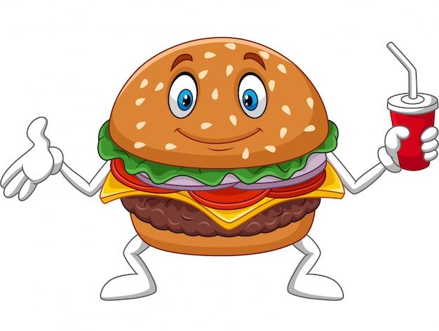Kreskówka hamburger trzyma filiżankę soda