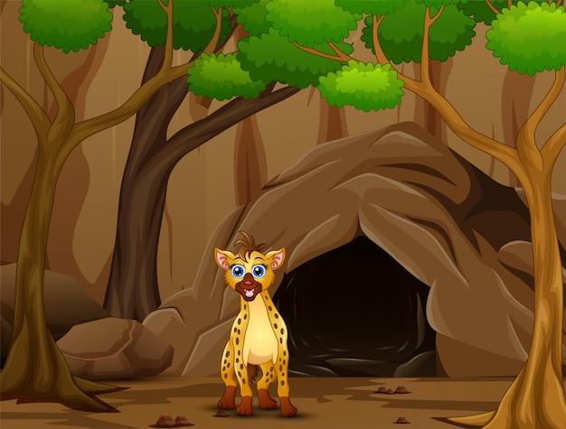 Kreskówka hieny mieszkająca w jaskini