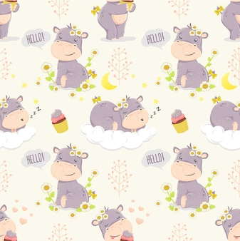 Kreskówka hippo dziewczyna. bezszwowy wzór. ilustracje dla dzieci.