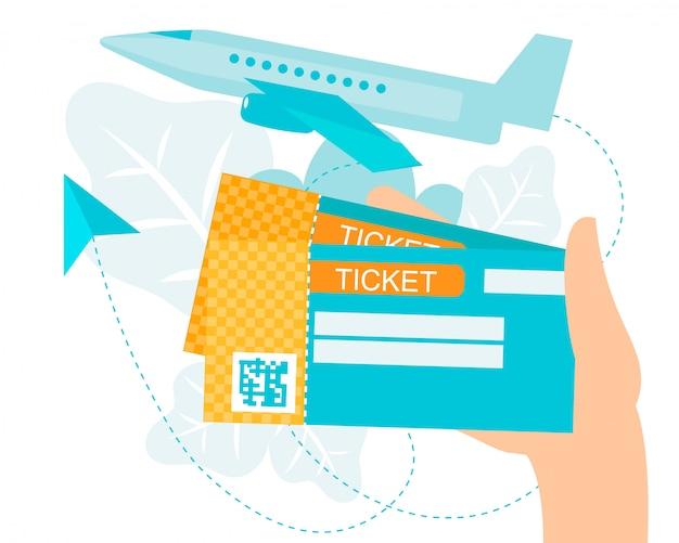 Kreskówka homan ręka trzyma bilet lotniczy z kodem qr