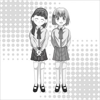 Kreskówka i uczeń dziewczyna dziecko