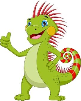 Kreskówka iguana kciuki do góry na białym tle