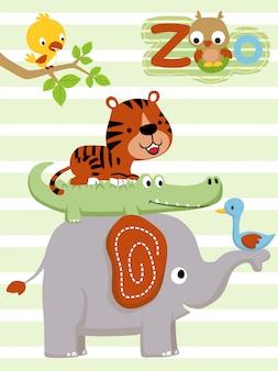 Kreskówka ilość zwierząt ułożona w stos