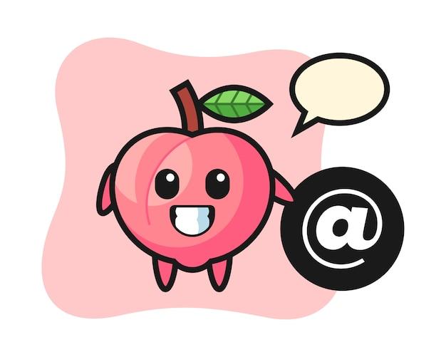 Kreskówka ilustracja brzoskwini stojącej obok symbolu at, ładny styl dla t shirt