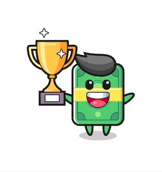 Kreskówka ilustracja pieniędzy jest szczęśliwa trzymając złote trofeum, ładny styl na koszulkę, naklejkę, element logo