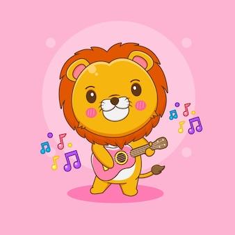 Kreskówka ilustracja słodkiego lwa grającego na gitarze
