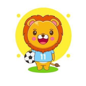 Kreskówka ilustracja słodkiego lwa jako piłkarza