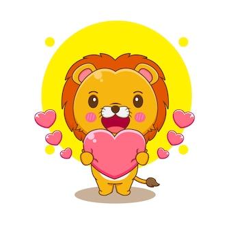 Kreskówka ilustracja słodkiego lwa trzymającego miłość