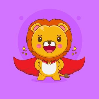 Kreskówka ilustracja słodkiego lwa z czerwonym płaszczem jako superbohatera