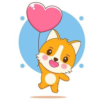 Kreskówka ilustracja słodkiego psa corgi latającego z sercem miłości