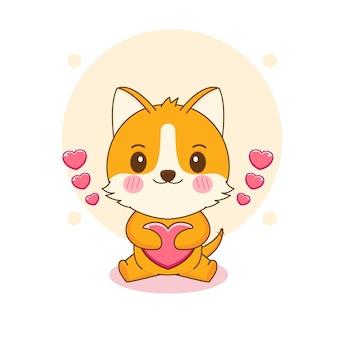 Kreskówka ilustracja słodkiego psa corgi przytulającego serce miłości