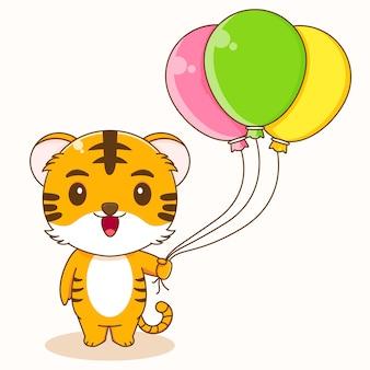 Kreskówka ilustracja słodkiego tygrysa trzymającego kolorowy balon