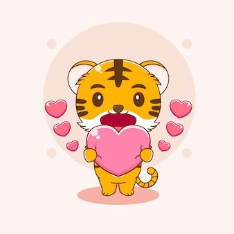 Kreskówka ilustracja słodkiego tygrysa trzymającego miłość
