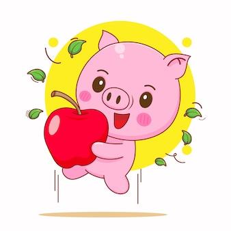 Kreskówka ilustracja słodkiej świni skaczącej z jabłkiem