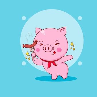 Kreskówka ilustracja słodkiej świni trzymającej kiełbasę