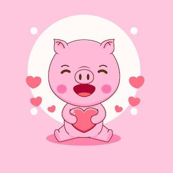 Kreskówka ilustracja słodkiej świni trzymającej serce miłości