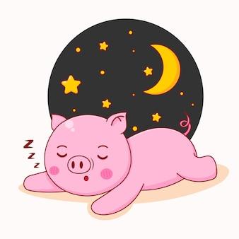 Kreskówka ilustracja słodkiej świnki śpiącej .