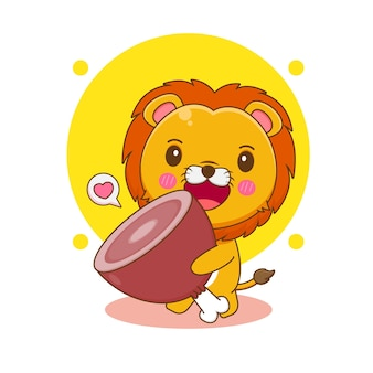 Kreskówka ilustracja uroczej postaci lwa przynosi duże mięso