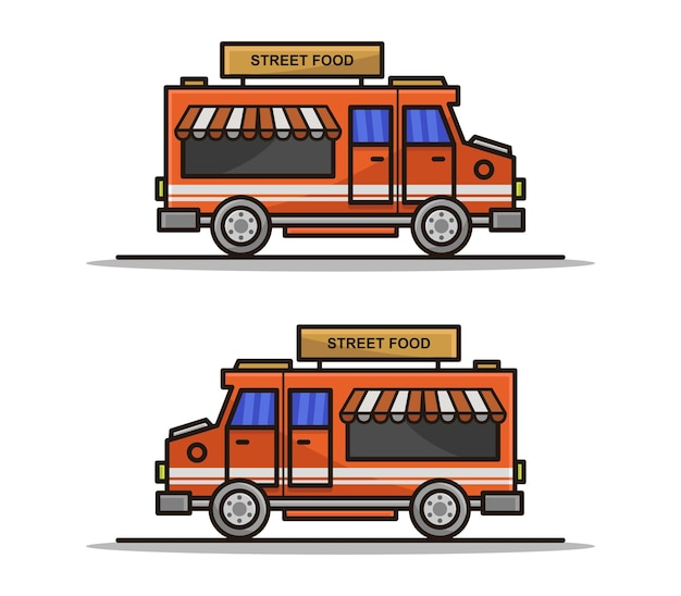 Kreskówka ilustrowana ciężarówka z jedzeniem