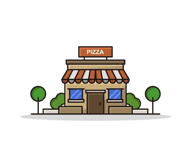 Kreskówka ilustrowany sklep z pizzą