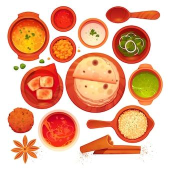 Kreskówka indyjska kolekcja żywności