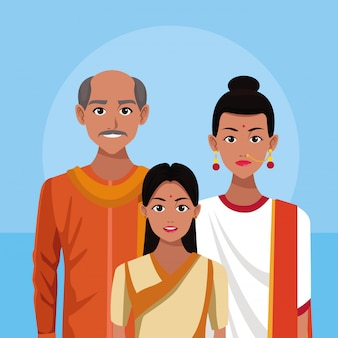 Kreskówka indyjska rodzina indie
