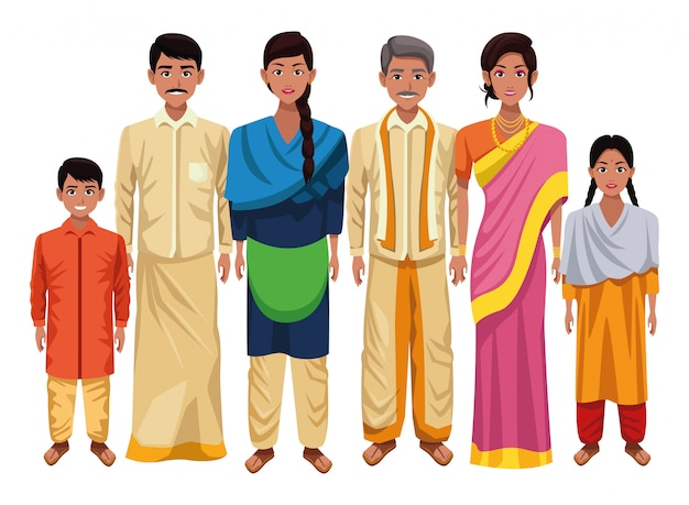 Kreskówka indyjski azjatycki kultura orientalna