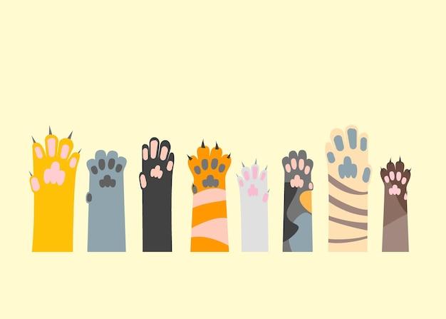 Kreskówka inny zestaw łapa kota. styl płaski. gra ze zwierzakiem i opieką