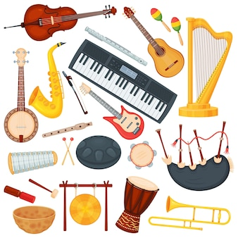 Kreskówka instrumenty muzyczne, elementy muzyki klasycznej orkiestry. saksofon, puzon, harfa, bęben bongo, zestaw instrumentów jazzowych gitary akustycznej