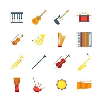 Kreskówka instrumenty muzyczne kolor ikony zestaw symbol orkiestry skrzypce, gitara, bęben i trąbka. ilustracja wektorowa