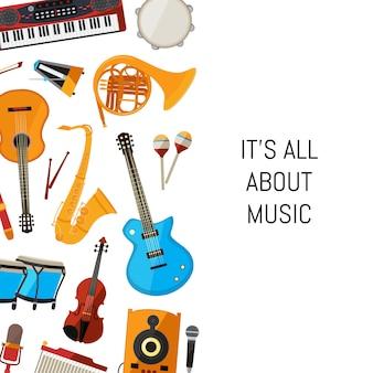 Kreskówka instrumenty muzyczne tło z miejscem na tekst