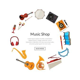 Kreskówka instrumenty muzyczne w okręgu