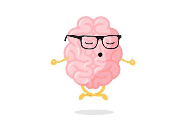 Kreskówka inteligentny ludzki mózg charakter z okulary relaksacja medytować koncepcja. medytacja na narządy ośrodkowego układu nerwowego w pozycji jogi lotosu. ilustracja wektorowa koncepcja relaksu