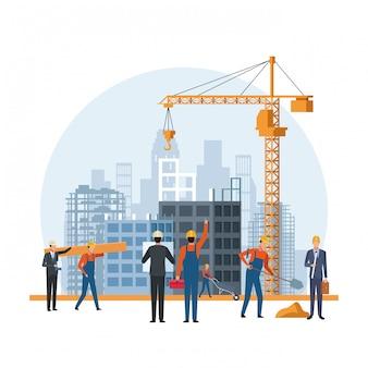 Kreskówka inżynier budowy