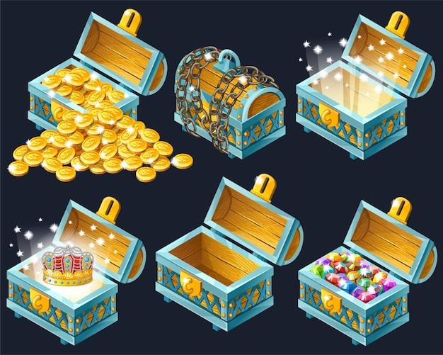 Kreskówka izometryczne skrzynie ze skarbami.