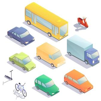 Kreskówka izometryczny zestaw pojazdów, ilustracji wektorowych