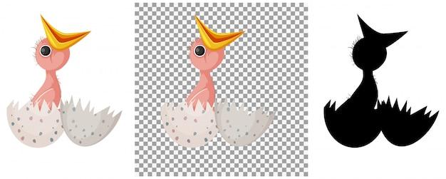 Kreskówka jajko pisklę pisklę