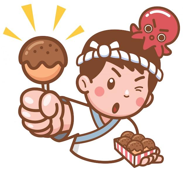 Kreskówka japoński szef kuchni przedstawia jedzenie