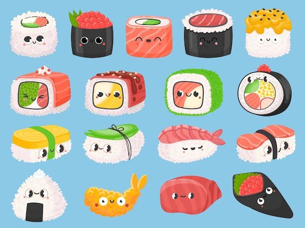 Kreskówka japońskie sushi, bułki i krewetki w tempurze z kawaii twarzami. słodkie azjatyckie jedzenie nigiri z łososiem. onigiri śmieszne postacie wektor zestaw. kuchnia azjatycka z rybnymi składnikami i ekspresją emocji