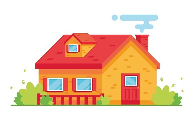 Kreskówka jasny budynek mieszkalny. dwupiętrowy dom. weranda z ogrodem i trawnikiem. willa wiejska. zewnętrzny. czerwony i żółty
