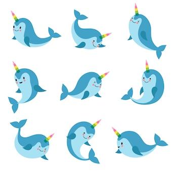 Kreskówka jednorożca anime narwhal. śmieszne kawaii wieloryb wektor znaków