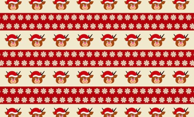 Kreskówka jelenia i choinki w jednolity wzór na tle czerwono-białej linii
