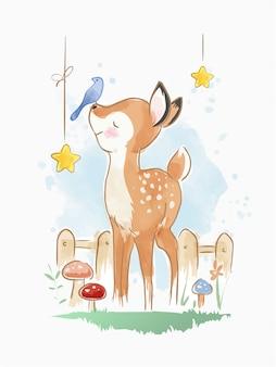 Kreskówka jelenia z małą ilustracją ptaków
