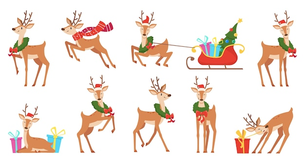 Kreskówka jelenia. zimowe uroczystości bajkowe zwierzęta renifery uruchomione wektor boże narodzenie postać. wesoły bieg renifera, poroże postaci z saniami i wieńcem ilustracji