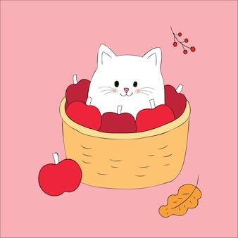 Kreskówka jesień śliczny kot w koszykowym jabłczanym wektorze.