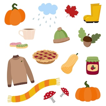 Kreskówka jesień ikona i obiekty ustawione dla projektu