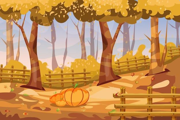 Kreskówka jesień krajobraz tło z dyniami jesieni