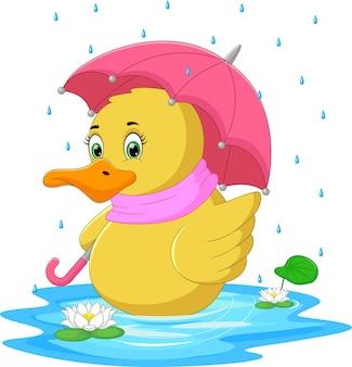 Kreskówka kaczka używająca parasola w deszczu