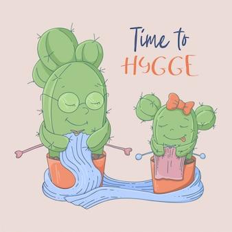 Kreskówka kaktusów pocztówka babcia i wnuczka uczą się robić na drutach