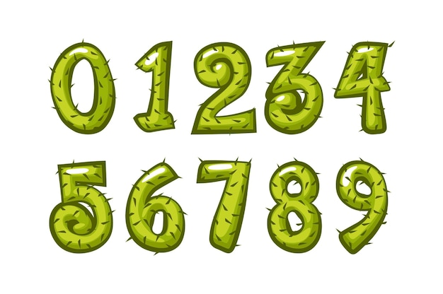 Kreskówka kaktusowe numery czcionek dla dzieci do szkoły.